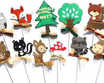 Woodland Forest Animal Themed Party Centerpiece Sticks Set of 11 Birthday Party - Personalized with Name and Age