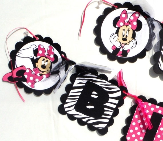 Minnie Mouse Hot Pink With Zebra Print Theme Party Happy