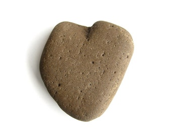 Large Heart Shaped Pebble - River Beach Stone - Brown - Natural Rock Jewelry Supply