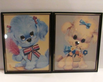 Big Eyed Pink Puppy and Blue Puppy Lithograph