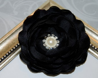Black Fabric Flower  3 1/2'' silk flowers with pearl and diamond rhinestone center - Camellia Ann -  hair flower headband flower