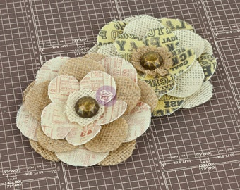 Prima fabric flowers - All Star 570866 - natural vintage style printed canvas fabric flowers embellished with wood button centers  ( 2 pcs)