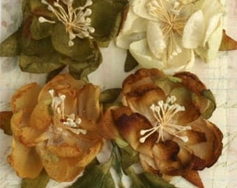 Vintage Fabric Flowers Ivory Cream Brown Green Botanical Blooms with leaves  (7 pcs) - vintage embellishment flowers - 1102-002
