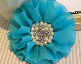 "Turquoise Blue Fabric Flowers 3.5"" soft chiffon layered fabric flowers with rhinestone pearl centers Hair hat boutique wedding flowers Lorna"