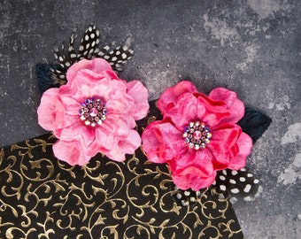Pink Fabric Flowers rhinestone feather accents Plume Candy 575502 dress hair hat applique floral embellishment princess headband DIY flowers
