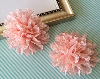 """Coral Pink Fabric Flowers - Set of two Lace Flowers - 3.5""""  Wholesale flowers supplies Headband Flowers soft lace large flowers hair flowers"""
