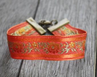 Embroidered Ribbon Bracelet, Stacking Bracelet, Gypsy Bracelet, Boho Bracelet, Bohemian Bracelet, Boho Jewelry, Orange Bracelet, Boho Cuff