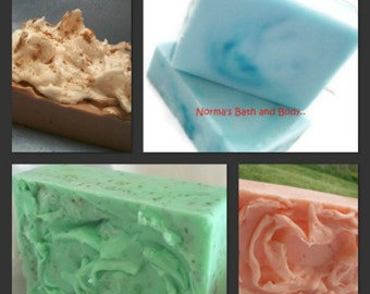 soaps of 4, health and beauty, bath and body, body soap, bar soap, glycerin soap, gift for her, gift for him, bath soap, one soap free