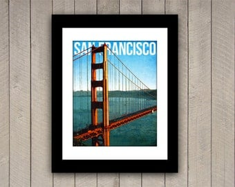 San Francisco Travel Print Golden Gate Bridge Vintage Style Poster in Deep Blue, Yellow, Orange Textures