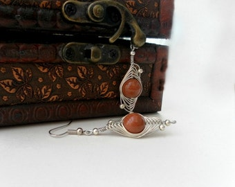 drop earrings in handmade wire wrapped jewelry handmade -   brown goldstone - gemstone earrigs, Weddings Jewelry,