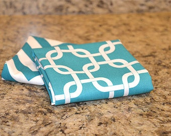 Kitchen Hand Towels (set of 2) - Gotcha Teal & Chevron Teal