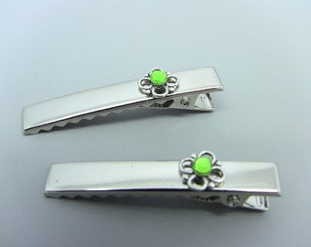 Silver Flower & Green Peridot Alligator Hair Clips