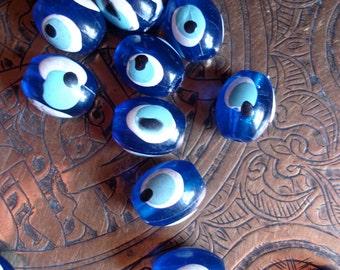 Turkish evil eye Nazar Boncugu blue hand painted bead
