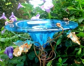 GARDENING, Butterfly Feeder, stained glass, Teal BLUE, copper, garden stake, Garden Art, Bird Feeder