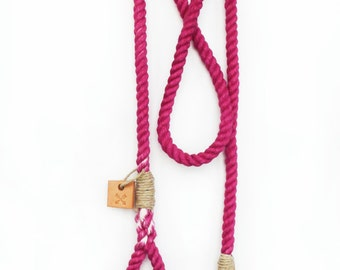 Rope dog lead pet supplies dog collar dog leash: Small or medium pink cotton rope leash
