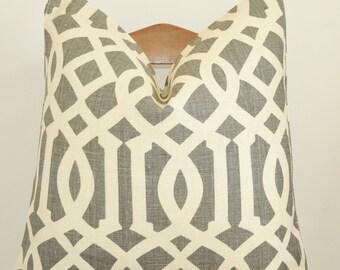 Gray Pillow, Handmade in USA, Pillow Cover, Decorative Pillow, Throw Pillow,Toss Pillow,Kelly Wearstler,Imperial Trellis, Parchment Midnight