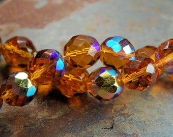 8mm Czech Beads Faceted  in AB Gold Honey -25