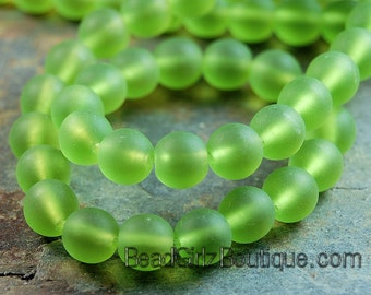 Olivine 6mm Czech Matte Glass Round Druk Beads - 50