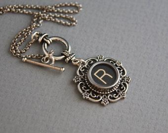 "Typewriter Key Necklace - Vintage Black Letter ""R""-Glass Top-Toggle Closure"