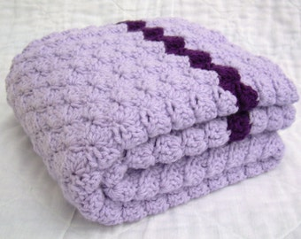Crochet Baby Blanket, Baby Blanket, Crochet Purple Baby Blanket, Lilac with Deep Purple accents, travel stroller pram size