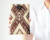 iPad mini sleeve - Tribal iPad case - Beige and brown - Geometric - OOAK