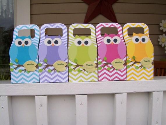 Rainbow Owls Favor Large Boxes  Set of 10