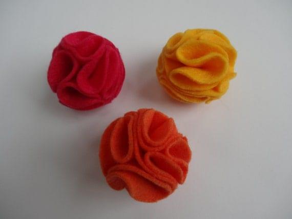 Felt Blossom Cat Toy Balls