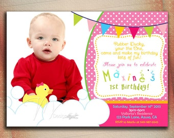 Rubber Duck Birthday Invitation, Rubber Ducky Birthday Invitation, Rubber Duck Girl Birthday Invitation, Baby Shower-DIY
