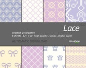 "Digital Paper + Lace + Scrapbook Quality Paper Pack  (8.5x11""- 300 dpi)   8 sheet pack paper  027 + Instant Download +"