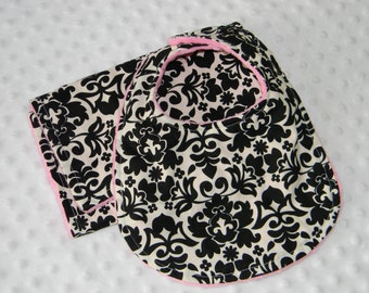 Boutique Handmade black  Damask  Bib and burp set