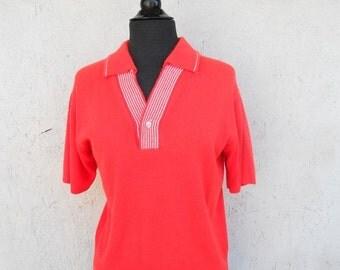 60s Orange Mad Men Sweater for Spring Summer M-L