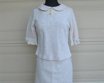 SALE Vintage 60s Crochet Dress . Two Piece Skirt and Top by Toni Todd