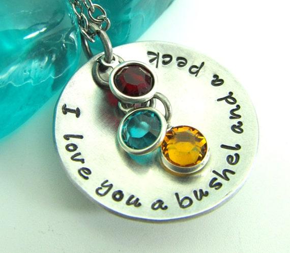 I Love You A Bushel And A Peck Necklace: I Love You A Bushel And A Peck Personalized Necklace Hand