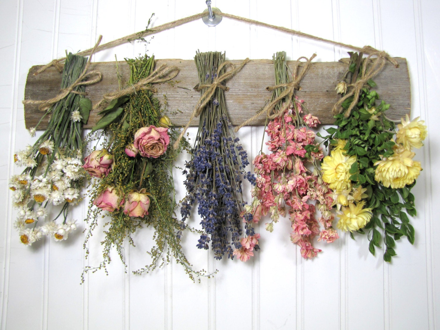 Dried flower rack dried floral arrangement wall decor dried for Bouquet de fleurs nature