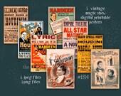 Vintage Magic Show Posters Houdini--instant digital download--halloween magic magician lyceum escape artist Clipart--PNG files  1314
