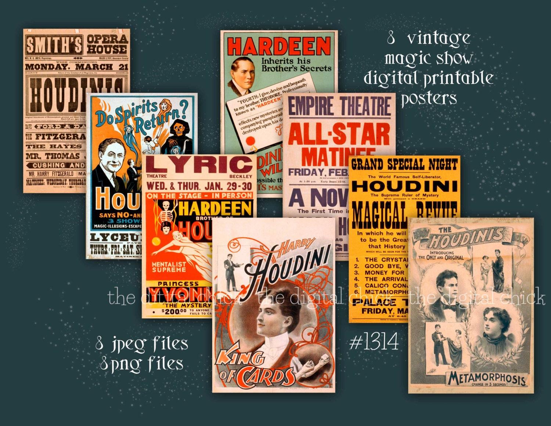 vintage magic show posters houdini instant digital download halloween magic magician lyceum. Black Bedroom Furniture Sets. Home Design Ideas