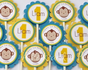 Blue and Yellow Boy Monkey Birthday Cupcake Toppers Picks