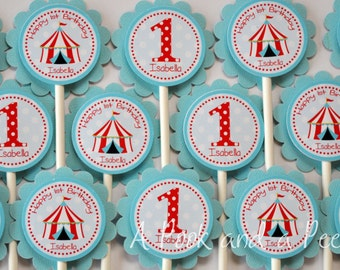 Circus Big Top Personalized Birthday or Shower Cupcake Toppers in Red Teal Blue Custom Cupcake Picks
