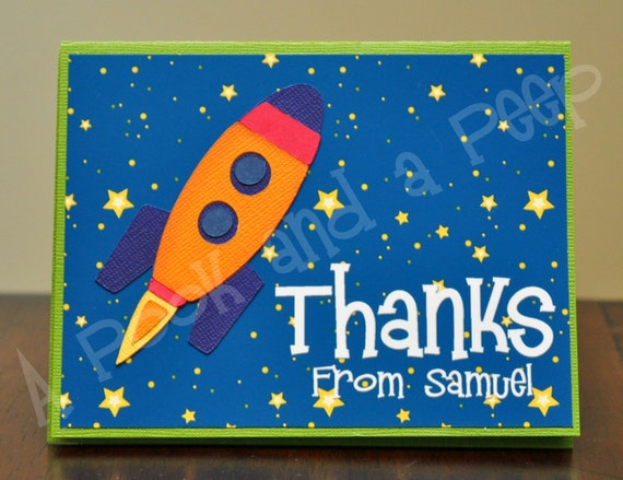 Rocket Ship Outer Space Personalized Thank You Card Birthday Baby Shower Invitation