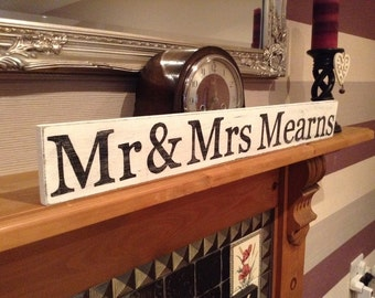 Large Handmade Distressed Sign - Personalised - MR & MRS, plus surname - any name!