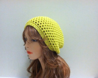 Crochet Slouchy Hat - RADIANT YELLOW