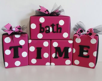 Bathroom Decor - Bathroom Block Set - Pink Bathroom Decor - Polka Dot Bathroom Decor -Bathroom Blocks - Bathtime Blocks - Wooden Blocks