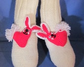 Handmade  Knitting Slipper/Socks with BUNNY RABBIT Amigurumi and Heart. Great gift for a someone special. Valentine Day Gift. Easter Bunny