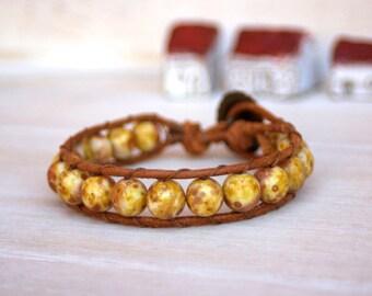 Boho Leather Bracelet, Shabby Chic, Czech Glass Beads