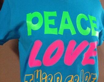 PEACE LOVE 1st 2nd 3rd etc GRADE school teacher v-neck t-shirt