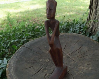 Eygptian Treen Art Wooden Statue African Hand Carved Shelf candy Authentic Decor