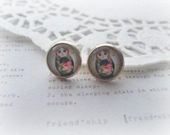 Navy and Pink Babushka Glass Stud Earrings