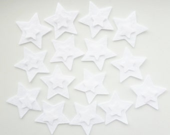 Felt star shapes white stars die cut from wool felt stars 30 Die cut star ore cut felt shapes Art and Craft