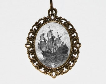 Pirate Ship Necklace, Pirates, Ocean, Nautical Jewelry, Boat, Bronze Oval Pendant
