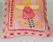 SALE Hand Embroidered Pillow, Boho, Angel, Faerie, Whimsical